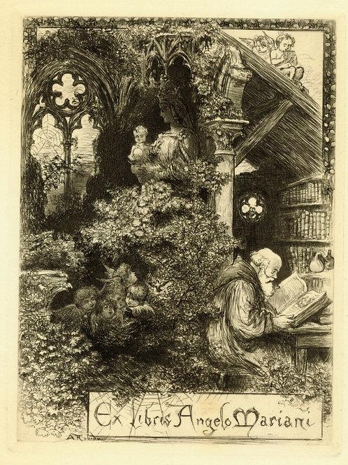 ANGELO MARIANI Ex Libris par ALBERT ROBIDA papier vélin 16,5 x 12 cm sur 28 x 19