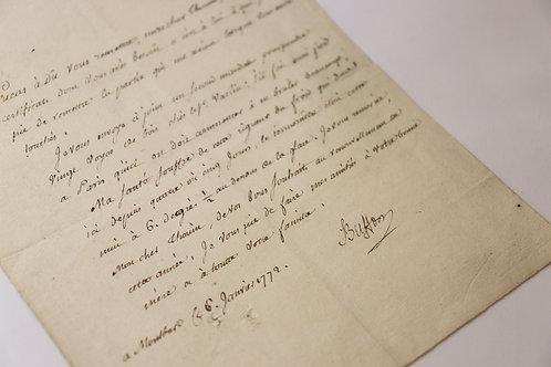 Buffon (1707-1788). Lettre signée au botaniste André Thouin (1772). Superbe