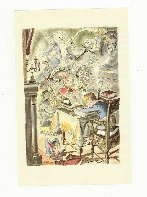 Jacques Liozu Illustration couleur offset 1955 Petit chaperon rouge loup conte