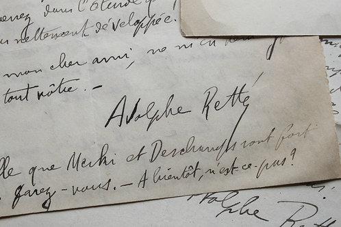 10 Lettres autographes signées du poète symboliste et anarchiste Adolphe Retté
