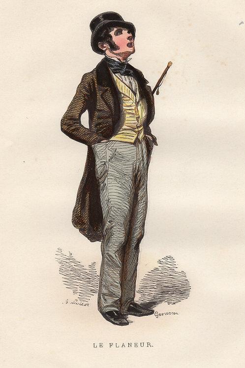 Gavarni. Le Flâneur (1840). Estampe aquarellée et gommée à l'époque