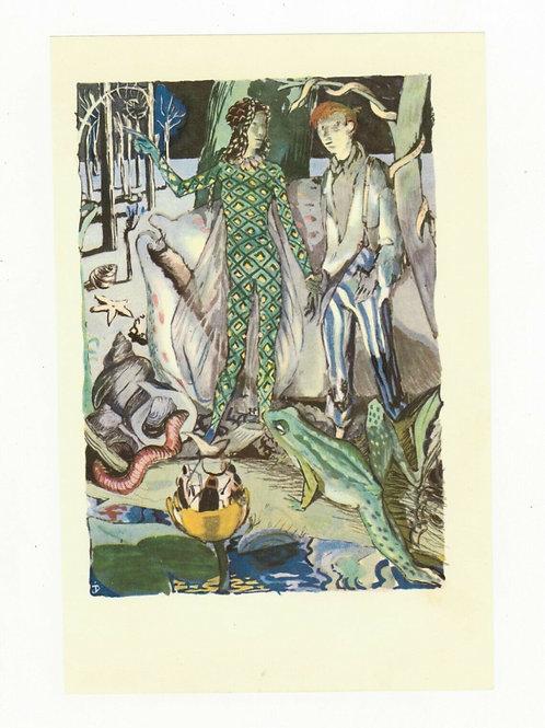 Illustration couleur offset 1955 Onirique rêve onirisme grenouille nature vers