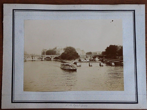 Paris 1900 Photographie ancienne 1900 L'île Saint-Louis Seine Péniche Pont