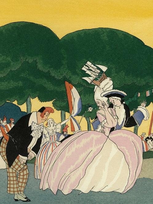 1922 Zyg Brunner Art Deco Estampe aquarellée pochoir Caricature révolution1793