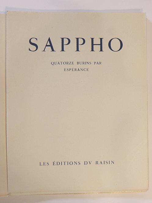 Sappho. Espérance (Sylvain Sauvage). Poésies. 1944. Imprimerie nationale. 1/150