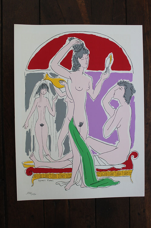 Ignasi Vidal. Sérigraphie d'art (1961). 1/180 ex. Grand format 44 x 32 cm