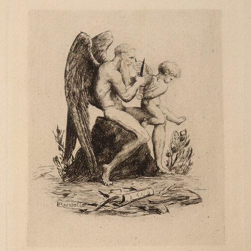 petite eau-forte vignette 7,5 x 6 cm 1880 pouvant servir ex libris bibliophilie