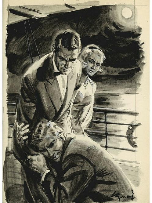 1966 Dessin original Raymond Lavis encre de chine Roman-Photo Télé Poche