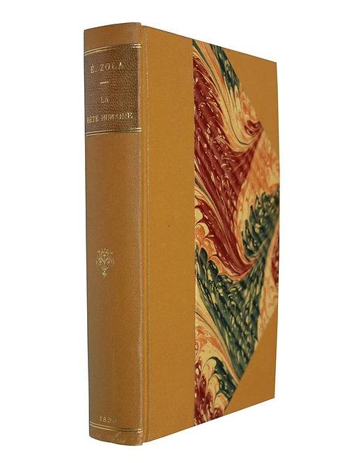 La Bête Humaine d'Emile Zola (1890). Edition originale reliée par V. Champs