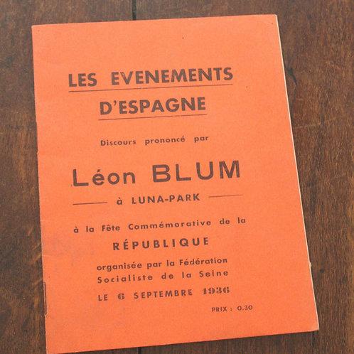 Léon Blum. Discours prononcé à la fête commémorative de la République (1936)