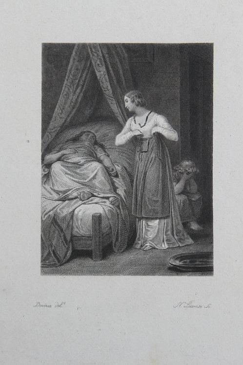 Achille Devéria. Estampe sur acier pour L'Emile de Rousseau (vers 1827)