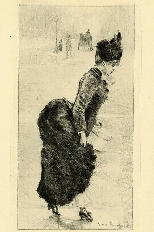 1894 HENRI BOUTET Pointe sèche DANS LA RUE mode femme féminin etching 1/400 ex.