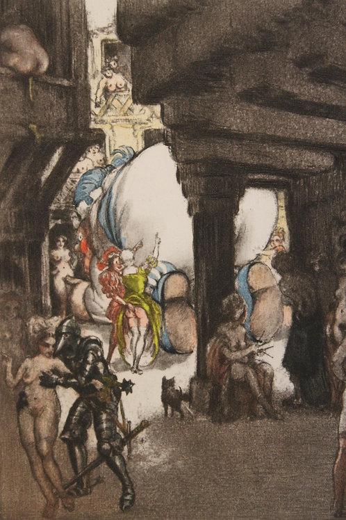 Louis Icart. Estampe pour Pantagruel (1936). Eau-forte en couleurs