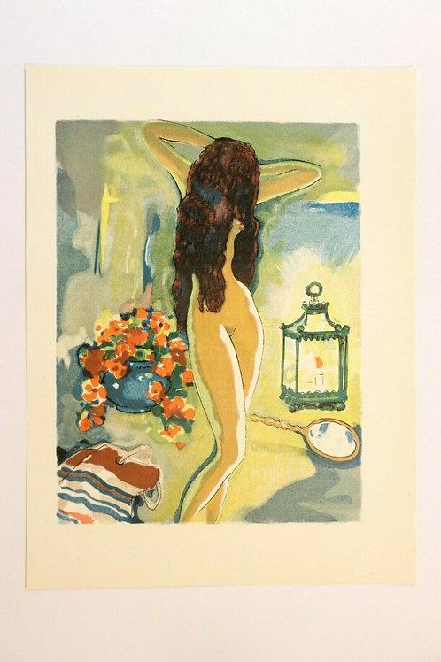 Kees Van Dongen Estampe couleurs 1955 aquarelle Mille et une nuits Oriental N°77