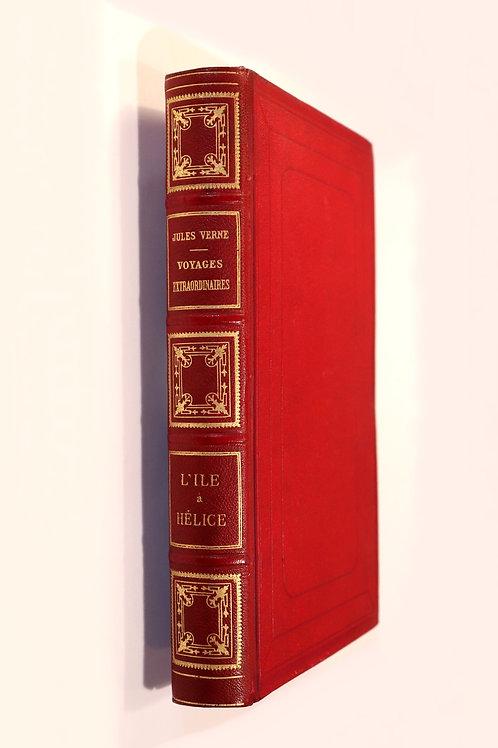 Jules Verne. L'île à hélice (1895). Edition originale. Reliure dite aux harpons