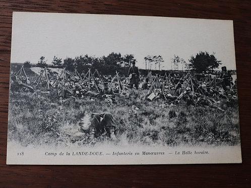 CPA Camp de la Lande-Doue Infanterie en Manoeuvre 1918 courrier poilu