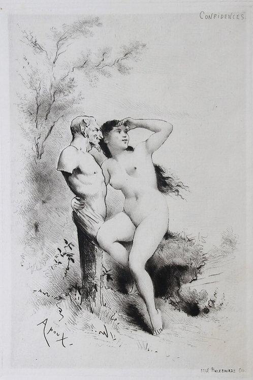 Joseph Apoux. Eau-forte originale. Confidences. Vers 1880-1890. Papier vergé
