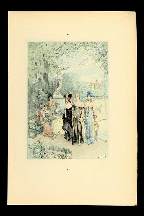 1885 Estampe originale Albert Lynch Française du siècle pour Uzanne Nymphes