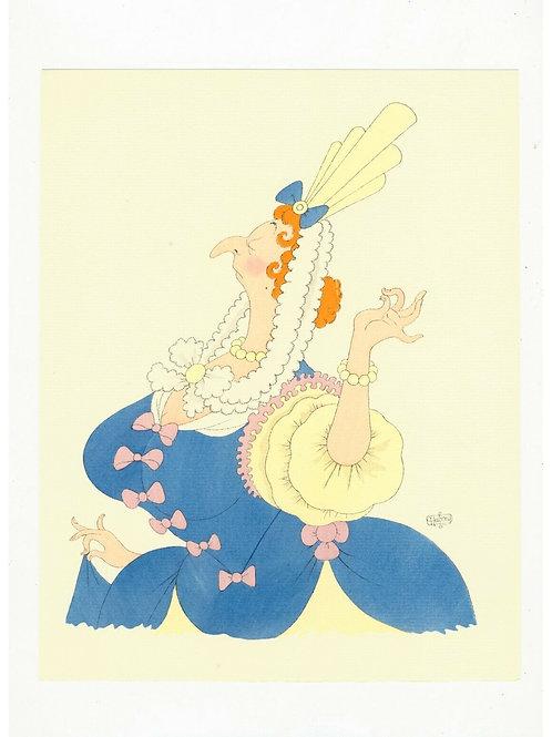 Albert DUBOUT illustration originale coloriée au POCHOIR pour Molière 1954