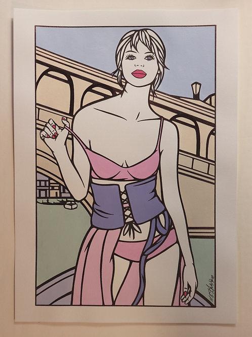 """Sophie Dumont. Dessin original sexy 26,5 x 17 cm acrylique et stylo """"VENISE"""""""