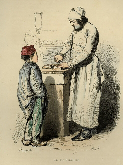 1842LE PÂTISSIER GÂTEAUX Français gravure estampe aquarellée