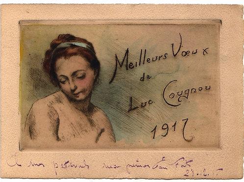 Très belle eau-forte carte de voeux par Luc Cougnou (1917). Rare