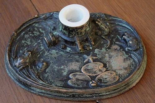 Les outils de l'écrivain Encrier signé Bouval 1900 Art Nouveau Bronze