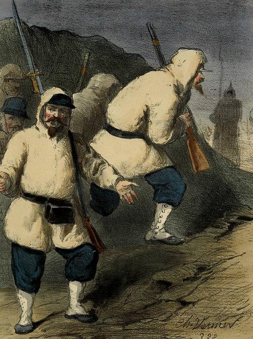 1855 VERNIER NOS TROUPIERS EN ORIENT Lithographie originale aquarellée gommée