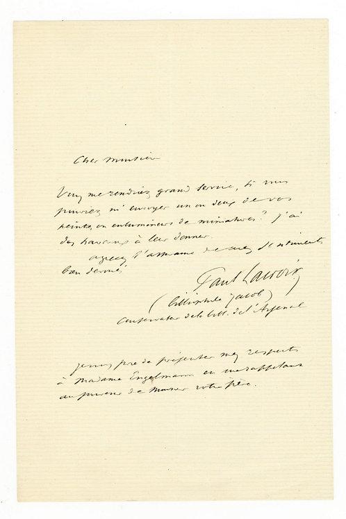 Paul Lacroix Bibliophile Jacob Billet autographe à M. Engelmann relieur éditeur