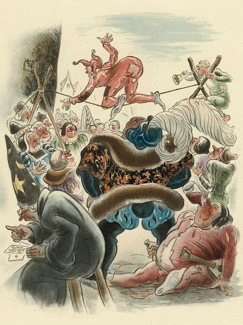 1933 ANDRÉ COLLOT estampe originale couleurs vélin Arches PANTAGRUEL RABELAIS