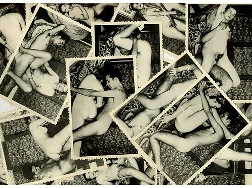 """Série de 15 photographies érotiques """"les ébats sexuels d'un couple"""" (vers 1950)"""