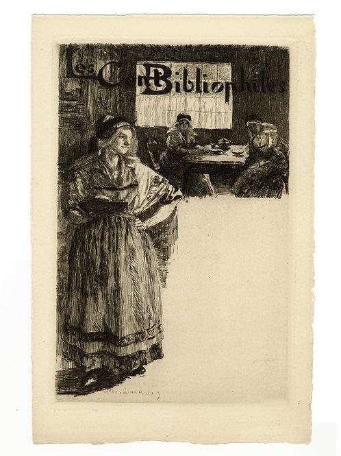Alexandre Lunois (1863-1916). Eau-forte d'essai pour les Cent Bibliophiles. Rare