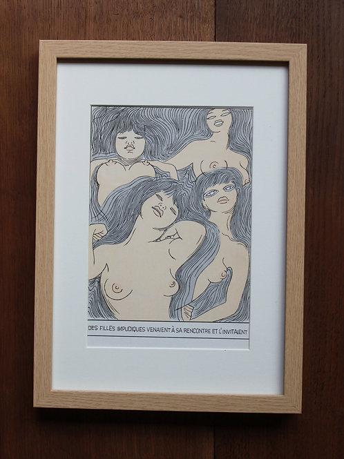 Dino Buzzati. Vintage Print (1970). Joli tirage couleur offset de l'époque