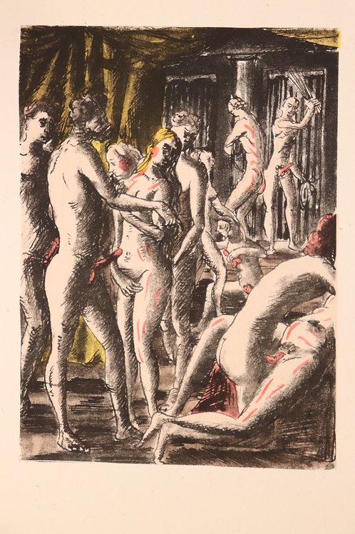 Estampe érotique aquarellée. BDSM. Marquis de Sade (120 journées). Vers