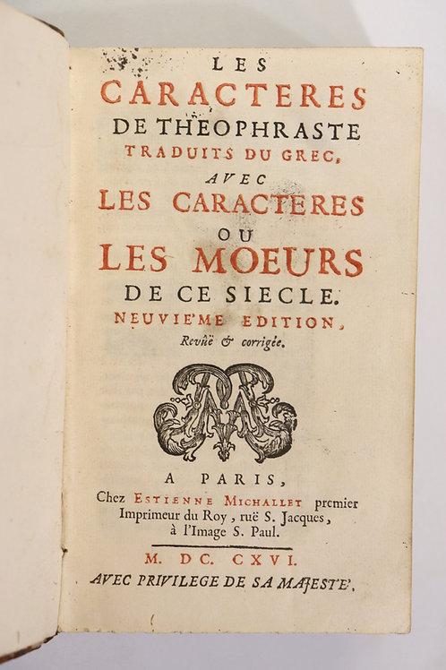 Jean de La Bruyère. Les Caractères (1696). Bel exemplaire. Reliure de l'époque.