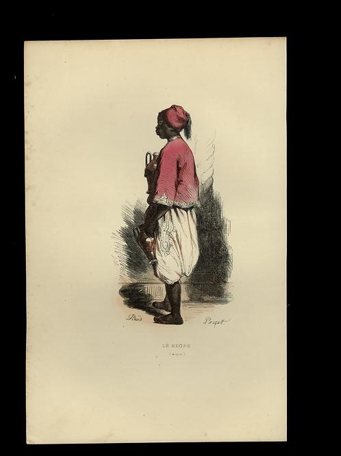 1842 LE NÈGRE ALGER Les Français ... estampe aquarellée époque
