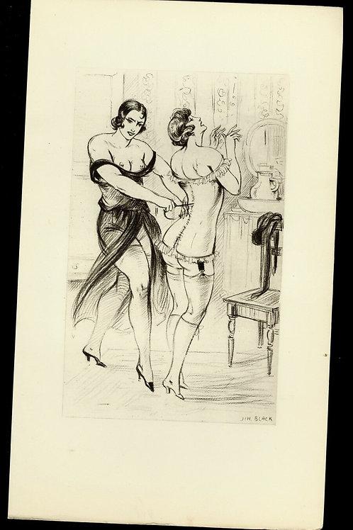 Jim Blak illustration héliogravure illustration héliogravure bdsm corset