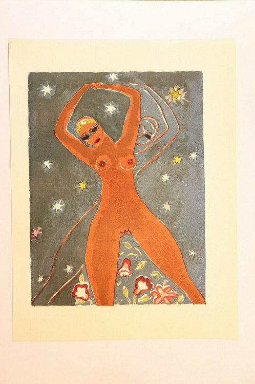 Kees Van Dongen Estampe couleurs 1955 aquarelle Mille et une nuits Oriental