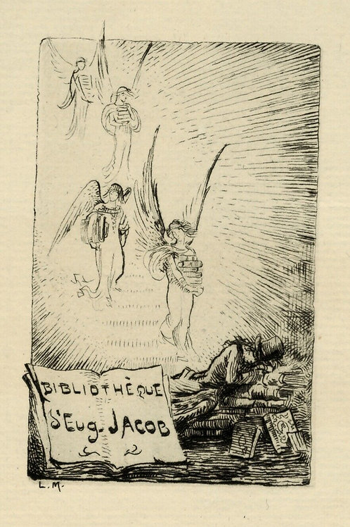 1880 1890 Eugène Jacob Ex Libris bibliothèque bibliophile eau-forte belle épreuv