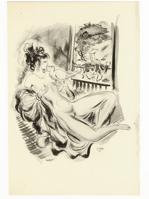Estampe érotique par Schem (Raoul Serres). Vers 1947. N°3