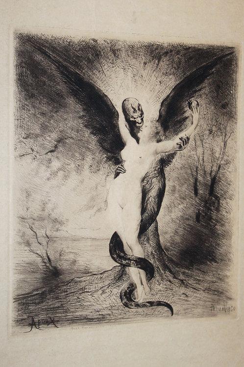 Joseph Apoux. Eau-forte originale. Prima Virgo. Vers 1880-1890. Papier Japon