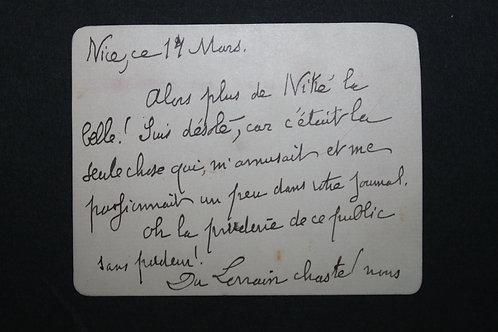 """Carte autographe signée de Jean Lorrain """"Du Lorrain chaste ! ..."""""""