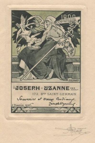 Agustin Poupart artiste 1906 carte voeux Joseph Uzanne Superbe épreuve signée