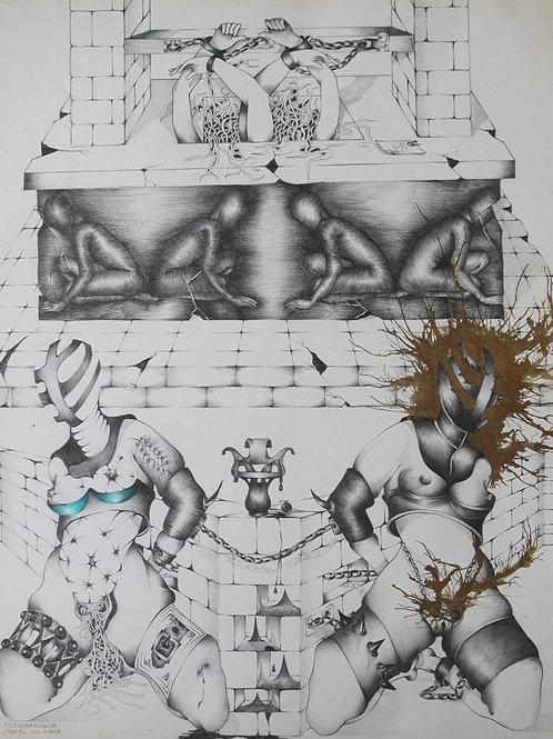 Dessin original BDSM par Michel Elsdorf (1974)