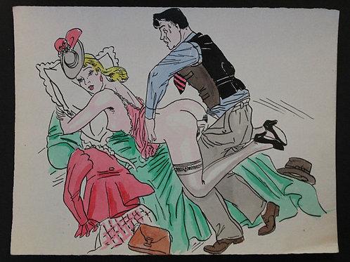 Aquarelle originale érotique vintage (vers 1950-1955). N°15