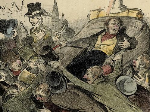 1839 Daumier Les Robert-Macaire Planche n°81 Caricature XIXe coloris époque rare