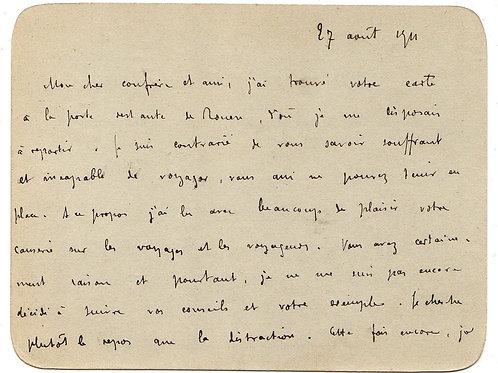 Remy de Gourmont. Carte-Lettre autographe à Octave Uzanne (1911)