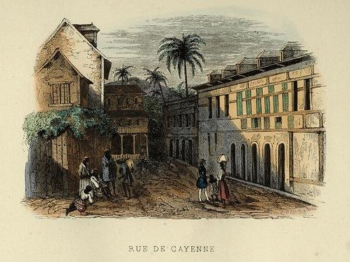 1842 RUE DE CAYENNE GUYANE Les Français peints gravure estampe aquarellée époque