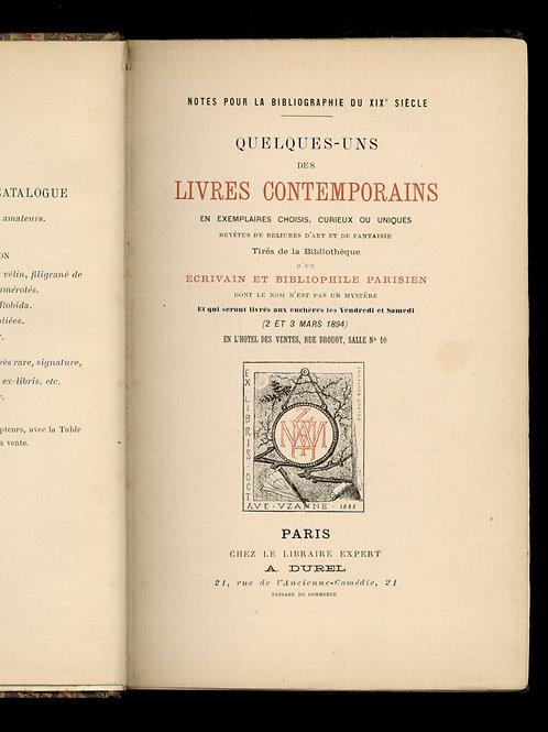 Octave Uzanne. Catalogue de la première vente de sa bibliothèque (1894). Carayon
