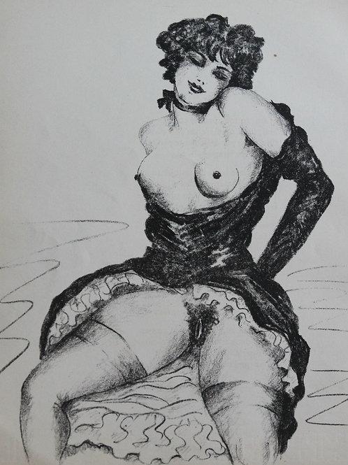 Lithographie originale érotique tirée des Oeuvres libres de Verlaine (1932)